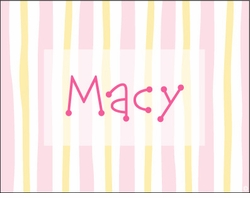 Girl Soft Stripes Note Cards