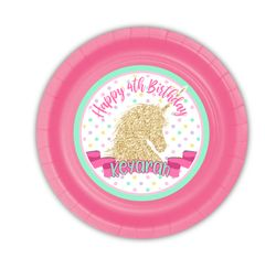 Golden Unicorn Party Personalized 7inch Cake Plates