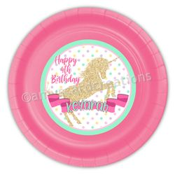 Golden Unicorn Party Personalized 9inch Meal Plates