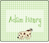 Green Gingham with Puppy Rectangle Sticker