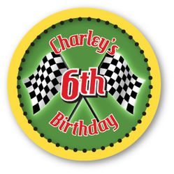 "Hot Wheels Race Car Party<br>Personalized 3"" Stickers"