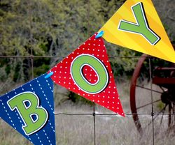It's A Boy, Diaper Pin<br>Personalized Baby Shower Pennant Banner