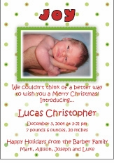 Joyful Dots Christmas Birth Announcement