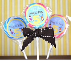 Jumping Gymnastics Twins Birthday<br>Personalized Lollipop Favors