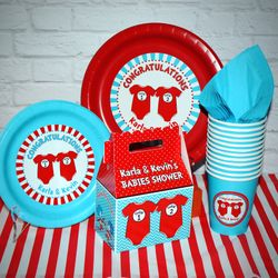 Just the Basics Personalized Party Pack for 12<br> Twin 1 Twin 2 Dr. Seuss Onesies Twins Baby Shower Supplies