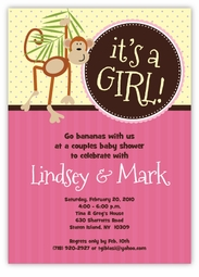 Little Monkey Baby Girl Shower Invitation