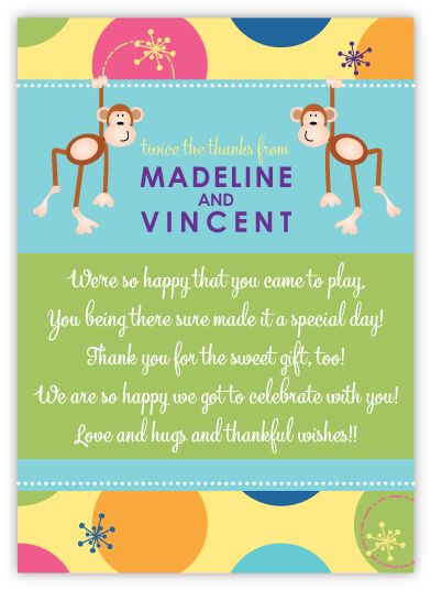 Little Monkeys Twins Pre-Printed Thank You Note Card