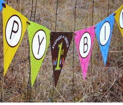MADE-TO-MATCH<br>Personalized Happy Birthday Pennant Banner