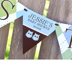 MADE-TO-MATCH<br>Personalized It's Twins Baby Shower Pennant Banner
