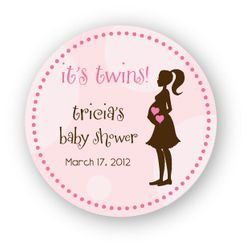 """MADE-TO-MATCH<br>Personalized Twins Baby Shower 3"""" Stickers"""