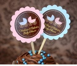 MADE-TO-MATCH<br>Personalized Twins Baby Shower Cupcake Topper Picks