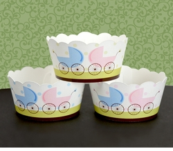 MADE-TO-MATCH<br>Personalized Twins Baby Shower Cupcake Wrapper Covers