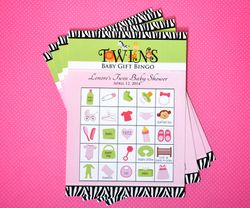 MADE-TO-MATCH<br>Twins Baby Shower Bingo Party Game