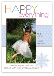 Metro Dots Blue on White Photo Holiday Card