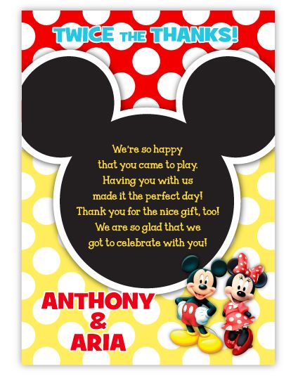 Mickey & Minnie Mouse Twins Pre-Printed Thank You Note Card