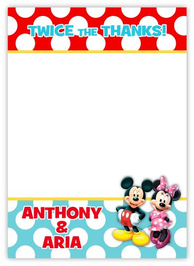 Mickey & Minnie Mouse Twins Thank You Note Card