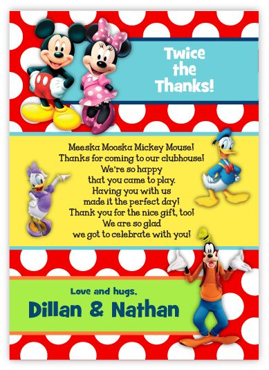 Mickey Mouse & Friends Twins Pre-Printed Thank You Note Card