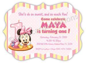 Minnie Mouse Baby's First Birthday Invitation