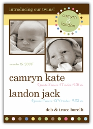 Mod Dots Girl-Boy Double Photo Birth Announcement
