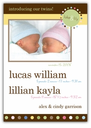 Mod Dots Girl-Boy Twins Photo Birth Announcement