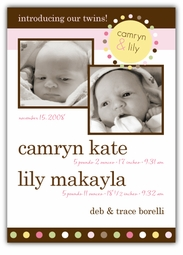 Mod Dots Girls Double Photo Birth Announcement