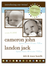 Mod Dots Twin Boys Double Photo Birth Announcement