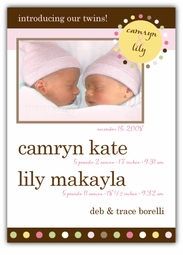 Mod Dots Twin Girls Photo Birth Announcement