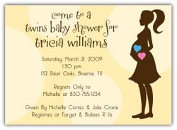 Mod Momma Girl-Boy Twin Baby Shower Invitation