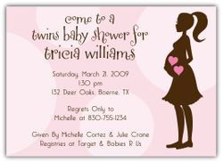 Mod Momma Twin Girls Baby Shower Invitation