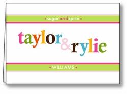 Mod Monogram Twin Girls Thank You Note Card