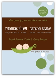 Mod Sweet Peas Twin Boys Birth Announcement