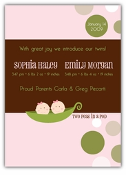 Mod Sweet Peas Twin Girls Birth Announcement