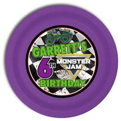 Monster Jam Grave Digger Monster Truck Party Personalized 9inch Meal Plates