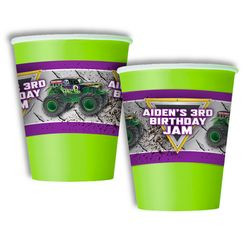 Monster Jam Grave Digger Monster Truck Party Personalized Party Cups