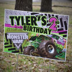 Monster Jam Grave Digger Monster Truck Party Personalized Party Yard Sign