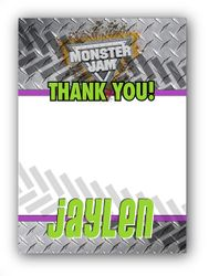 Monster Jam Grave Digger Monster Truck Personalized Thank You Note Cards