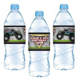Monster Jam Grave Digger Monster Truck Party Water Bottle Label Stickers