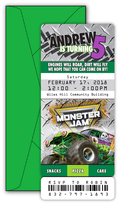 Monster Jam Grave Digger Ticket Style Birthday Invitation