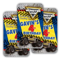 Monster Jam Party Personalized Favor Tags