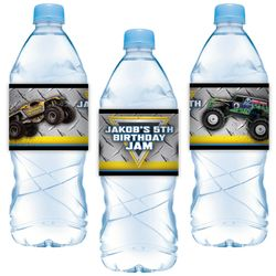 Monster Jam Party Water Bottle Label Stickers
