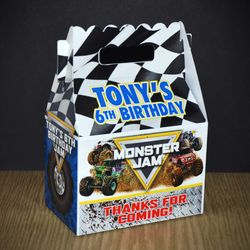Monster Jam Personalized Gable Box Party Favor
