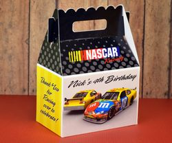 Nascar Race Car Party Yellow & Black<br>Personalized Gable Box Party Favor