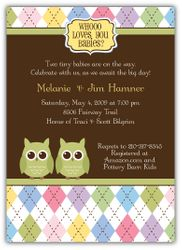 Night Owl Argyle Girl Boy or Gender Neutral Twins Baby Shower Invitation