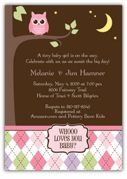 Night Owl Baby Girl Shower Invitation