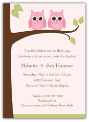 Owls on a Limb Girl Twins Baby Shower Invitation