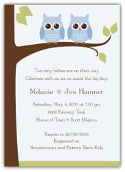 Owls on a Limb Twin Boys Baby Shower Invitation
