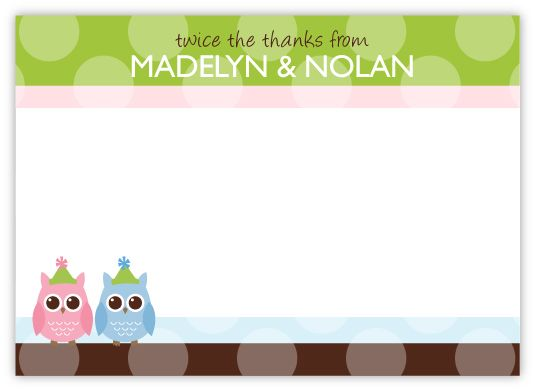 Party Anim-Owls Twins Thank You Note Card