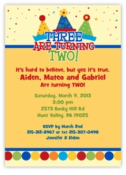 Party Hats Boy Triplets Birthday Invitation