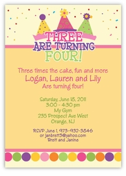 Party Hats Girl Triplets Birthday Invitation