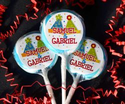Party Hats Theme Birthday<br>Personalized Lollipop Favors